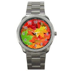 Autumn Leaves 1 Sport Metal Watches by trendistuff
