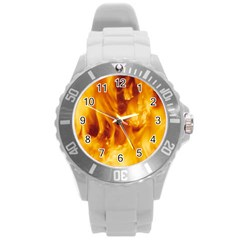 Yellow Flames Round Plastic Sport Watch (l) by trendistuff