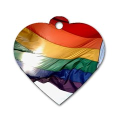 Pride Flag Dog Tag Heart (one Side) by trendistuff