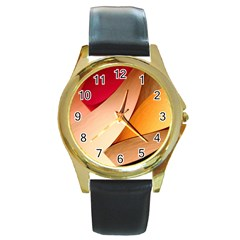 Pretty Abstract Art Round Gold Metal Watches by trendistuff