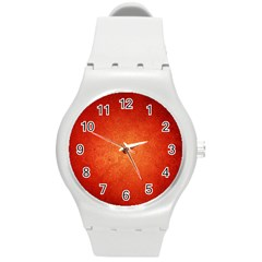Orange Dot Art Round Plastic Sport Watch (m) by trendistuff