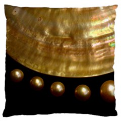 Golden Pearls Large Flano Cushion Cases (two Sides)  by trendistuff