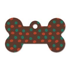 Distorted Polka Dots Pattern Dog Tag Bone (two Sides) by LalyLauraFLM