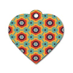 Stars And Honeycomb Pattern Dog Tag Heart (one Side) by LalyLauraFLM