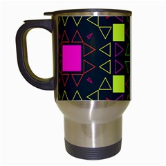 Triangles And Squares Travel Mug (white) by LalyLauraFLM