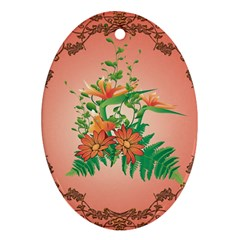 Awesome Flowers And Leaves With Floral Elements On Soft Red Background Ornament (oval)  by FantasyWorld7