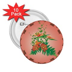 Awesome Flowers And Leaves With Floral Elements On Soft Red Background 2 25  Buttons (10 Pack)  by FantasyWorld7