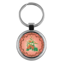 Awesome Flowers And Leaves With Floral Elements On Soft Red Background Key Chains (round)  by FantasyWorld7