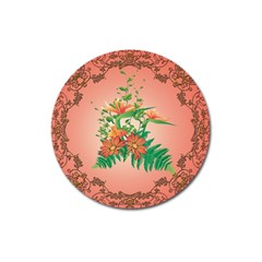 Awesome Flowers And Leaves With Floral Elements On Soft Red Background Magnet 3  (round) by FantasyWorld7