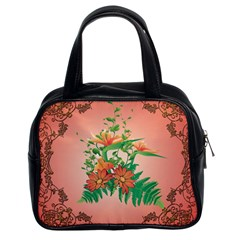 Awesome Flowers And Leaves With Floral Elements On Soft Red Background Classic Handbags (2 Sides) by FantasyWorld7