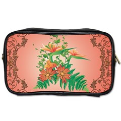 Awesome Flowers And Leaves With Floral Elements On Soft Red Background Toiletries Bags by FantasyWorld7
