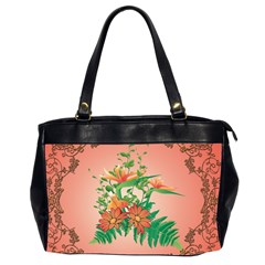 Awesome Flowers And Leaves With Floral Elements On Soft Red Background Office Handbags (2 Sides)  by FantasyWorld7