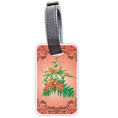 Awesome Flowers And Leaves With Floral Elements On Soft Red Background Luggage Tags (one Side)  by FantasyWorld7
