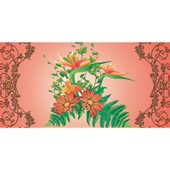 Awesome Flowers And Leaves With Floral Elements On Soft Red Background You Are Invited 3d Greeting Card (8x4)  by FantasyWorld7