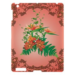 Awesome Flowers And Leaves With Floral Elements On Soft Red Background Apple Ipad 3/4 Hardshell Case by FantasyWorld7