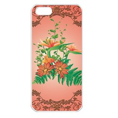Awesome Flowers And Leaves With Floral Elements On Soft Red Background Apple Iphone 5 Seamless Case (white) by FantasyWorld7
