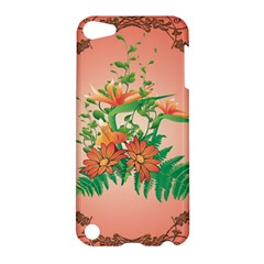 Awesome Flowers And Leaves With Floral Elements On Soft Red Background Apple Ipod Touch 5 Hardshell Case by FantasyWorld7