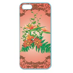 Awesome Flowers And Leaves With Floral Elements On Soft Red Background Apple Seamless Iphone 5 Case (color) by FantasyWorld7