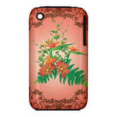 Awesome Flowers And Leaves With Floral Elements On Soft Red Background Apple Iphone 3g/3gs Hardshell Case (pc+silicone) by FantasyWorld7