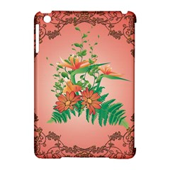 Awesome Flowers And Leaves With Floral Elements On Soft Red Background Apple Ipad Mini Hardshell Case (compatible With Smart Cover) by FantasyWorld7