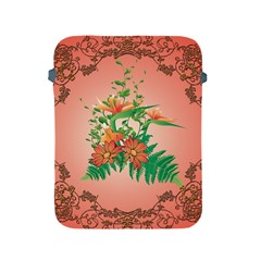 Awesome Flowers And Leaves With Floral Elements On Soft Red Background Apple Ipad 2/3/4 Protective Soft Cases by FantasyWorld7
