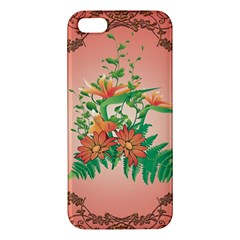 Awesome Flowers And Leaves With Floral Elements On Soft Red Background Iphone 5s Premium Hardshell Case by FantasyWorld7