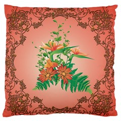 Awesome Flowers And Leaves With Floral Elements On Soft Red Background Standard Flano Cushion Cases (one Side)  by FantasyWorld7
