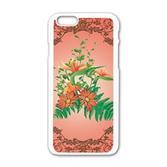 Awesome Flowers And Leaves With Floral Elements On Soft Red Background Apple Iphone 6/6s White Enamel Case by FantasyWorld7