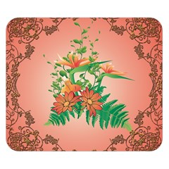 Awesome Flowers And Leaves With Floral Elements On Soft Red Background Double Sided Flano Blanket (small)  by FantasyWorld7