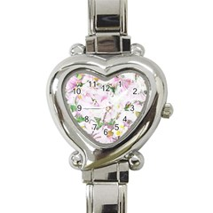 Soft Floral, Spring Heart Italian Charm Watch by MoreColorsinLife