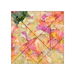 Soft Floral,roses Acrylic Tangram Puzzle (4  X 4 ) by MoreColorsinLife