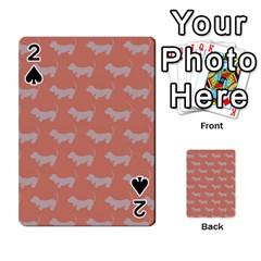 Cute Dachshund Pattern In Peach Playing Cards 54 Designs