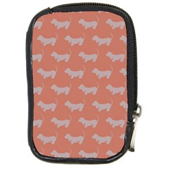 Cute Dachshund Pattern In Peach Compact Camera Cases by LovelyDesigns4U