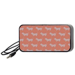 Cute Dachshund Pattern In Peach Portable Speaker (black)  by LovelyDesigns4U