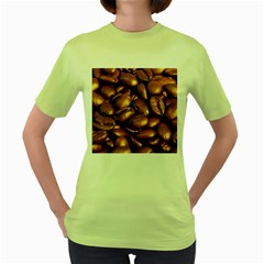 Chocolate Coffee Beans Women s Green T Shirt by trendistuff