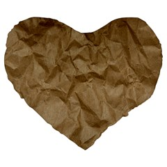 BROWN PAPER Large 19  Premium Flano Heart Shape Cushions by trendistuff