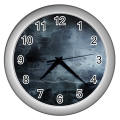 Black Splatter Wall Clocks (silver)  by trendistuff
