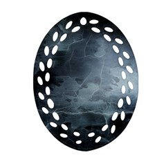 Black Splatter Oval Filigree Ornament (2 Side)  by trendistuff