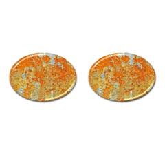 Yellow Rusty Metal Cufflinks (oval) by trendistuff