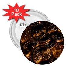 Gold Coins 2 2 25  Buttons (10 Pack)  by trendistuff