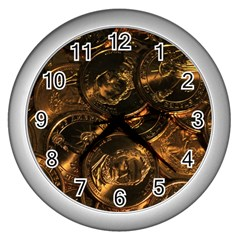 Gold Coins 2 Wall Clocks (silver)  by trendistuff