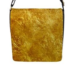 Gold Flap Messenger Bag (l)  by trendistuff