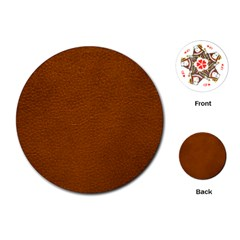 Brown Leather Playing Cards (round)  by trendistuff