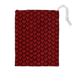 Red Reptile Skin Drawstring Pouches (extra Large)