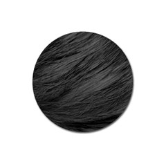 Long Haired Black Cat Fur Magnet 3  (round) by trendistuff
