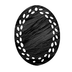 Long Haired Black Cat Fur Ornament (oval Filigree)  by trendistuff
