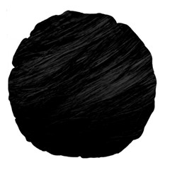 Long Haired Black Cat Fur Large 18  Premium Round Cushions by trendistuff