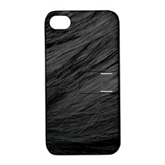 Long Haired Black Cat Fur Apple Iphone 4/4s Hardshell Case With Stand by trendistuff
