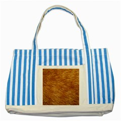 LIGHT BROWN FUR Striped Blue Tote Bag  by trendistuff