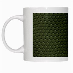 Green Reptile Skin White Mugs by trendistuff